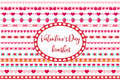 Valentines Day borders set. Cute heart, flowers ornament. Isolated on white background.