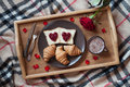 Valentines day breakfast in bed with rose flower Royalty Free Stock Photo