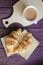 Valentines day breakfast croissants with coffee Royalty Free Stock Photo