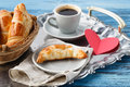 Valentines day breakfast with croissants and tea Royalty Free Stock Photo