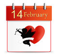Valentines day calendar date february illustration Royalty Free Stock Photography