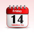 Valentines day calendar icon illustration background Royalty Free Stock Image