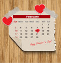 Valentines day in calendar on wood background Royalty Free Stock Images