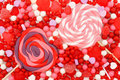 Valentines day candy background of red pink and white candies Royalty Free Stock Image