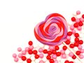 Valentines day candy border heart shaped lollipop and corner Royalty Free Stock Photo