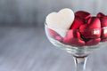 Valentines Day Candy Hearts in Wine Glass Love Symbols Royalty Free Stock Photo