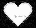 Valentines day card black paper heart with sign on ornate background Royalty Free Stock Photo