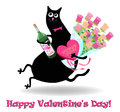 Valentines day card with cat Stock Images