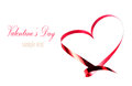 Valentines day card with copyspace abstract heart made of red r ribbon isolated on white background love beautiful harmony and Royalty Free Stock Image