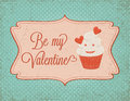 Valentines day card with cupcake Royalty Free Stock Photo