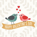 Valentines day card with cute love birds retro two sitting on a gold ribbon banner Royalty Free Stock Image