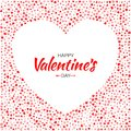 Valentines Day card design. Heart frame silhouette from pattern gentle red and pink hearts  on white background. Royalty Free Stock Photo