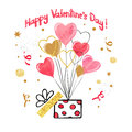 Valentines day card design with watercolor heart balloons.