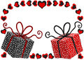 Valentines day card with gift boxes hearts border frame and Royalty Free Stock Photo