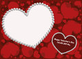 Valentines day card greeting with many red hearts Stock Image
