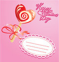 Valentines Day Card with heart candy -  lollipop Stock Images
