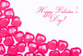 Valentines day card hot pink hearts isolated on white background with space for the text Royalty Free Stock Image