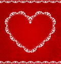Valentines day card with lace heart Royalty Free Stock Image