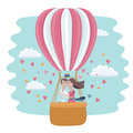 Valentines day card. Love kissing couple in a hot-air balloon