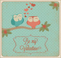 Valentines day card with owls Stock Photography