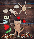 Valentines day card with paper cat in love Royalty Free Stock Image