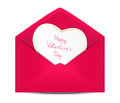 Valentines day card in paper envelope Royalty Free Stock Photos