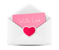 Valentines day card in paper envelope Royalty Free Stock Photography