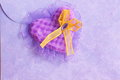 Valentines day card purple heart stock photos on love letter pink envelope background Royalty Free Stock Images
