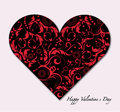 Valentines day card red paper heart with sign on ornate background Royalty Free Stock Photo