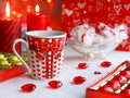 Valentines day card stock photo hearts golden chocolates cups and red candles Royalty Free Stock Images