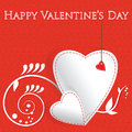 Valentines day card white paper heart Stock Photo