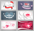 Valentines day cards set on a gray background vector illustration Stock Photo