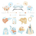 Valentines Day cartoon icon set with Cupids stuff, love envelopes, hearts kitten