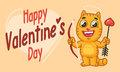 Valentines Day Cat Holds Bow and Arrow
