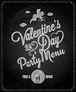 Valentines day chalkboard menu background party design Royalty Free Stock Image