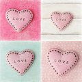 Valentines day collage background with hearts Royalty Free Stock Images