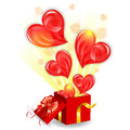 Valentines day concept for with hearts taking off from gift box with bow vector on white background Stock Photography
