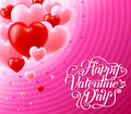 Valentines Day Cute Greeting Card With Red And Pink Heart Balloons Royalty Free Stock Photo