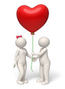 Valentines day d couple giving red heart balloon rendered cute guy her lady a big for Royalty Free Stock Photos
