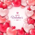Valentines day 3d hearts. Romantic greeting card, wishes happy valentines day. Party invitation with realistic red heart