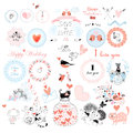 Valentines day and the day of the wedding set labels badges other items vector illustration Stock Photography