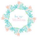 Valentines day decoration. Cute floral frame in vector. Creative flowers background in pastel color Royalty Free Stock Photo