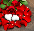 Valentines Day decoration red roses and two hearts Royalty Free Stock Photo