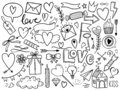 Valentines day doodle set, objects for concept and design, vector illustration flat. Heart, key, bow, crown, sweets, love letter
