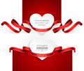 Valentines day emblems with red ribbons vector Royalty Free Stock Photography