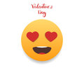 Valentines Day emoticon. Emoji with hearts eyes