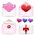 Valentines day envelopes set of st greeting cards love hearts and a ribbon Stock Image