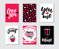 Valentines day gift card vector set. Hand drawn printable templates with lettering, texture, love quotes.