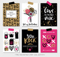 Valentines day gift cards. Calligraphy and hand drawn design. Royalty Free Stock Photo