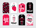 Valentines day gift tag vector set. Collection of hand drawn printable card templates